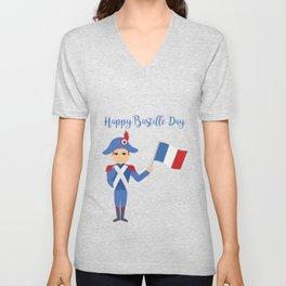 Soldier holding the French flag - Bastille Day Unisex V-Neck