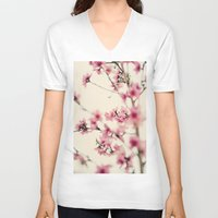 sakura V-neck T-shirts featuring Sakura by Laura Ruth