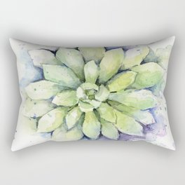 Watercolor Succulent Rectangular Pillow