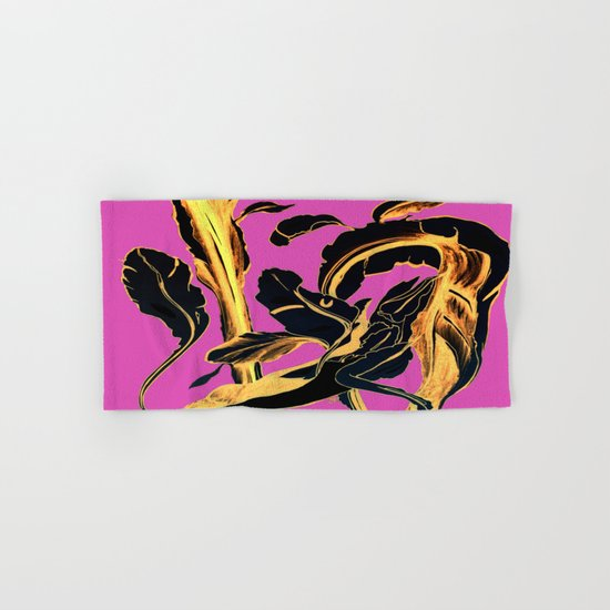 Golden Succulent on Fuchsia Hand & Bath Towel