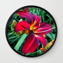 Red Lily Flower Wall Clock