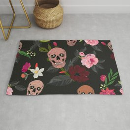 Skull and Roses, Vanilla, Cosmos Flower. Floral Colorful Bouquet Pattern Rug