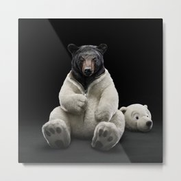 Black bear wearing polar bear costume Metal Print