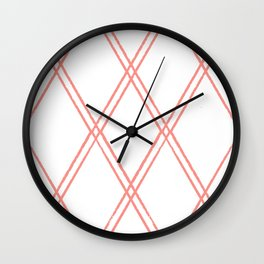 Coral Diamond Pattern Wall Clock