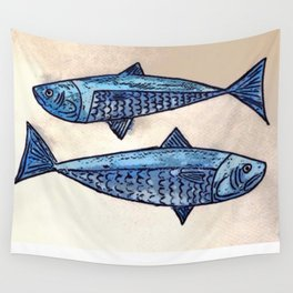 Blue fishes- Poissons bleus Wall Tapestry