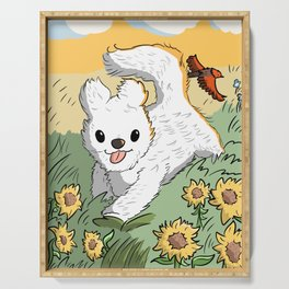 Coton de Tulear and sunflowers Serving Tray