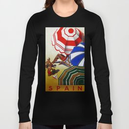 Vintage Spain Beach Travel Poster Long Sleeve T-shirt
