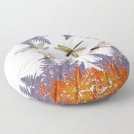 DRAGONFLIES & PURPLE-BROWN WOODLAND FERNS  ABSTRACT Floor Pillow