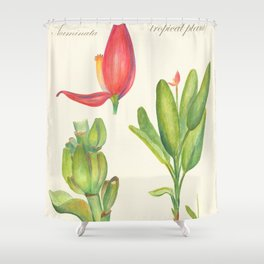 Banana Tropical Flower Retro Poster Shower Curtain