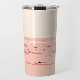 Sunset Tiny Surfers in Lima Illustrated Travel Mug