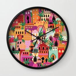 Moroccan Village Sunset Wall Clock