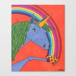 Unicorns love Pizza Canvas Print