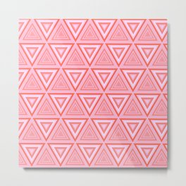 Vibrant Pink Tiled Triangle Pattern Metal Print