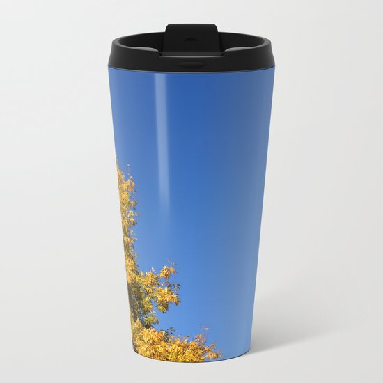 Yellow Autumn Tree Metal Travel Mug