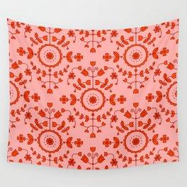 Boho Floral - Orange Wall Tapestry