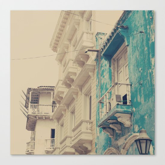 Grunge Summer Town (Retro and Vintage Urban, architecture photography, blue and cream) Canvas Print