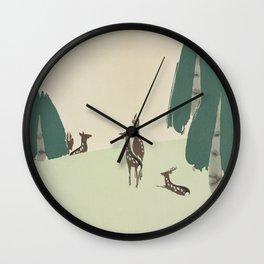 Kamisaka Sekka's Deers On A Field Illustration Wall Clock