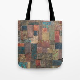 Etched Patina Patchwork Tote Bag