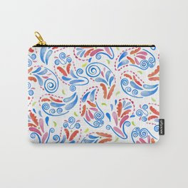Multicolored Watercolor Paisley Florals on white Carry-All Pouch