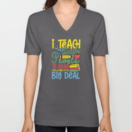 Teach people to read Unisex V-Neck