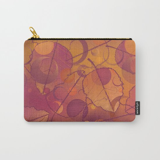 Floating Leaves Pattern III - Autumn, Pink Violet Carry-All Pouch