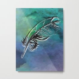Flying Feather Metal Print