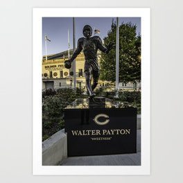 The new Walter Payton Statute in morning sun light Art Print