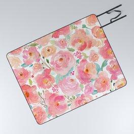 Watercolor Peonies Summer Bouquet Picnic Blanket