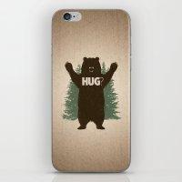 hug iPhone & iPod Skins featuring Bear Hug by powerpig