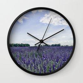 Lavender Field | Vintage French Wildflowers Botanical Meadow Landscape Photograph Purple Tones Wall Clock