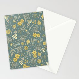 Yellow, Cream, Gray, Tan & Blue-Green Floral Pattern Stationery Cards