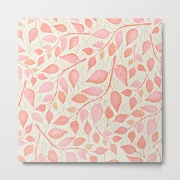 Coral Pink Leaves On Gold Metal Print
