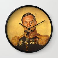 neil gaiman Wall Clocks featuring Neil Armstrong - replaceface by replaceface