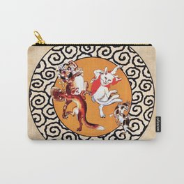 Kawanabe Kyosai Tanuki And Cat Carry-All Pouch