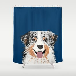 Australian Shepherd blue merle cute pet portrait dog person must have gifts for aussie owner  Shower Curtain