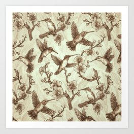 Sepia Hummingbird Pattern Art Print