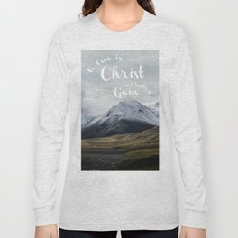 To Live is Christ and to Die is Gain Philippians 1:21 Typography Bible Landscape Art Long Sleeve T-shirt