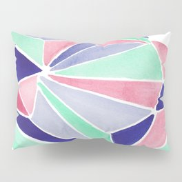 Watercolor colorful mint triangles. Watercolor geometry 3D effect. Pillow Sham