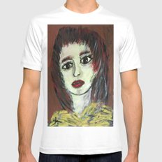 THE WORRIED GIRL Mens Fitted Tee MEDIUM White