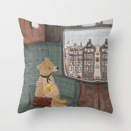 a new adventure for bear Throw Pillow