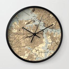 Vintage Norfolk & Portsmouth Virginia Map (1944) Wall Clock