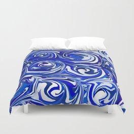 China Blue Paint Swirls Duvet Cover