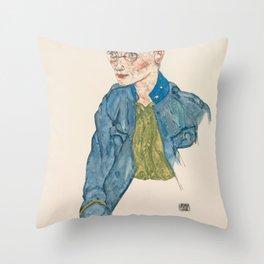 "Egon Schiele ""One-Year Volunteer Lance-Corporal"" Throw Pillow"