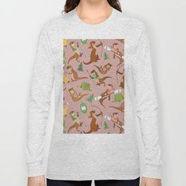 Otter Camping Pink Pattern Long Sleeve T-shirt