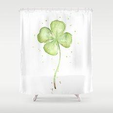 Clover Four Leaf Lucky Charm Green Clovers Shower Curtain