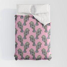 Pink Watercolor Manatee Pattern Comforters