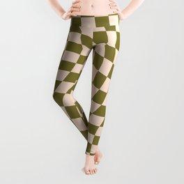 Check VI - Green Twist — Checkerboard Print Leggings