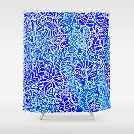 Jungle Garden, Blue Shower Curtain
