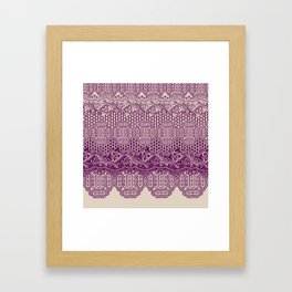 lace border with floral and geo mix in bordeaux Framed Art Print