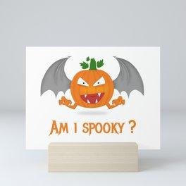 Funny spooky halloween pumpkin Mini Art Print